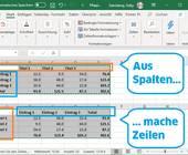 Excel-Screenshot mit Tabellen-Ausschnitten vorher und nachher