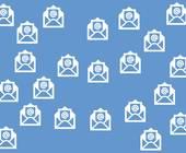 Blauer Hintergrund mit mehreren Mail-Icons