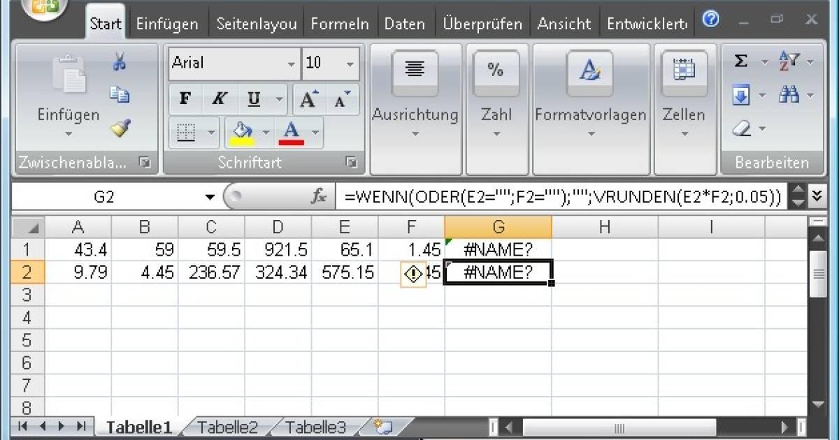 Excel Fehler Name