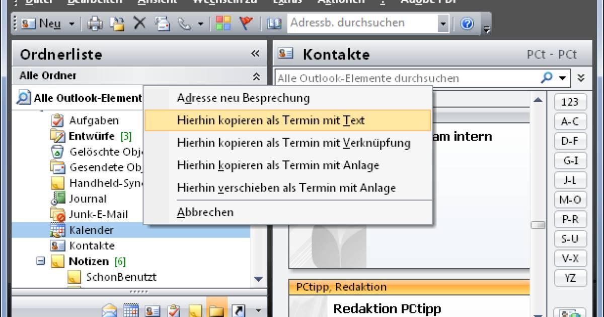 Outlook: Aus Kontakt einen Termin erstellen - pctipp.ch