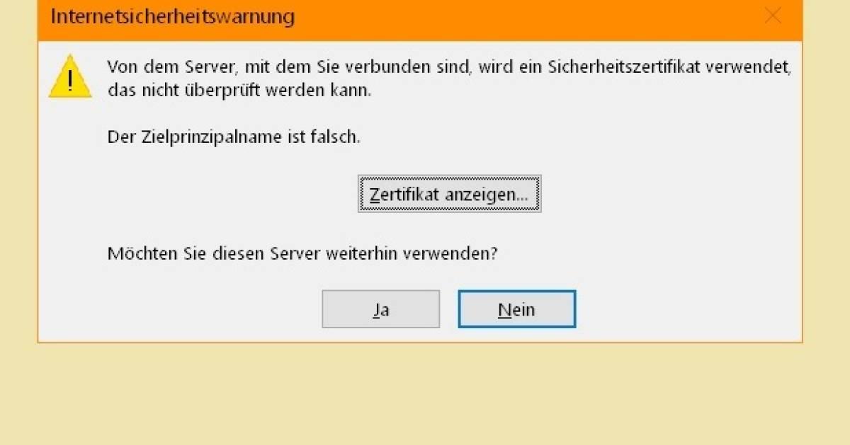 Outlook meldet: «Zielprinzipalname ist falsch» - pctipp.ch