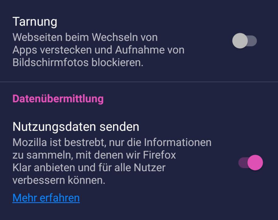 Screenshot Sicherheitsrichtlinie