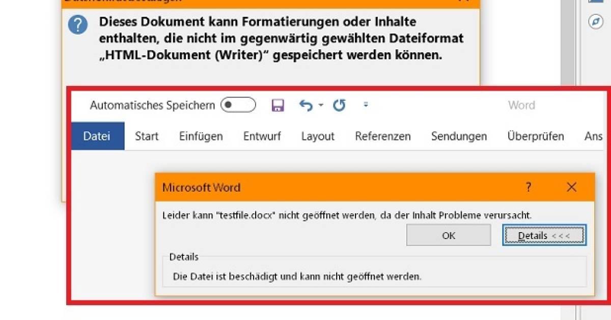 Bug des Monats: LibreOffice hält leere Docx-Datei für HTML ...