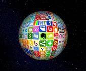 Erdkugel aus Social-Media-Icons