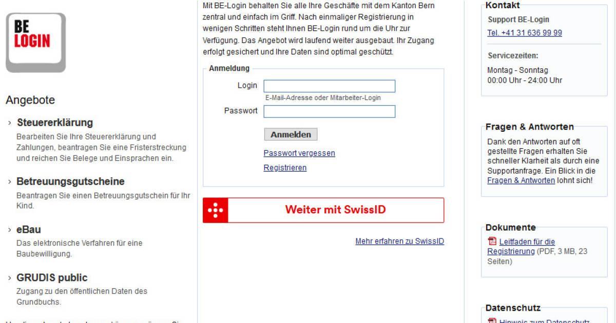 Kanton Bern setzt für BE-Login die SwissID ein - pctipp.ch