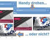 Screenshot hochkant und quer gedrehte Browser-App
