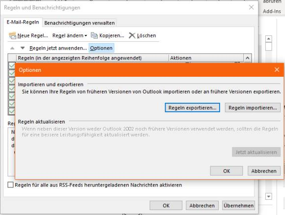 Screenshot Exportfunktion Outlook-Regeln