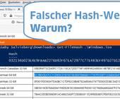Screenshots richtiger und falscher Hash-Wert