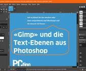 Screenshot mit Text Gimp und die Text-Ebenen aus Photoshop