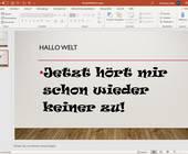 Screenshot PowerPoint mit Schrift