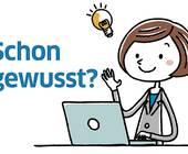 Comic-Person an einem Laptop und der Schriftzug